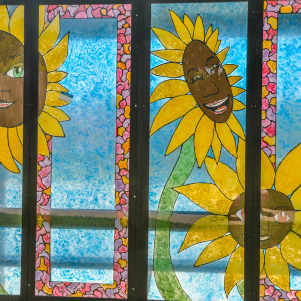 Sunflowers painted on bus shelter, 21st Street North and Chautauqua photo from 2009