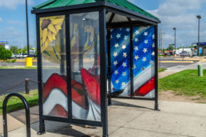 United States Flag represented on Bus Shelter - south west side of Amidon at 21st Street North 2012