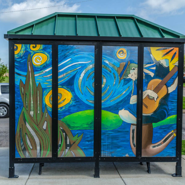 Art Images on Bus Shelter - south west corner of intersection, 25th Street North and Grove photo from 2012