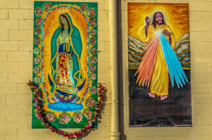 Untitled [Virgin Mary] - Untitled [Jesus Christ] - 2211 N. Broadway (Olivas Tire Shop) - unknown and Carlos el Pintar [Carlitos Beltran?] 2014